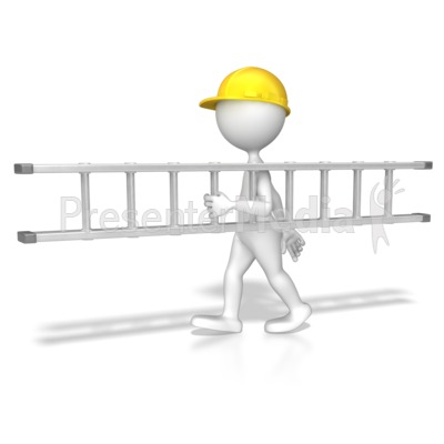 Stick Figure Carrying A Ladder Presentation clipart