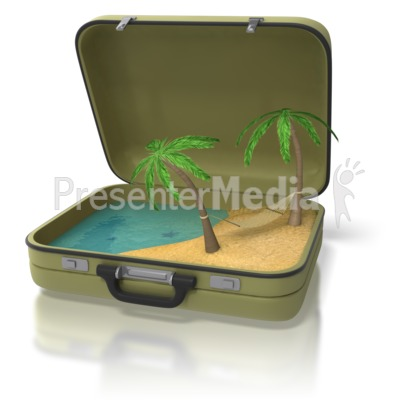 Beach Island In Suitcase Presentation clipart