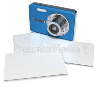 Compact Camera With Blank Photos Presentation clipart