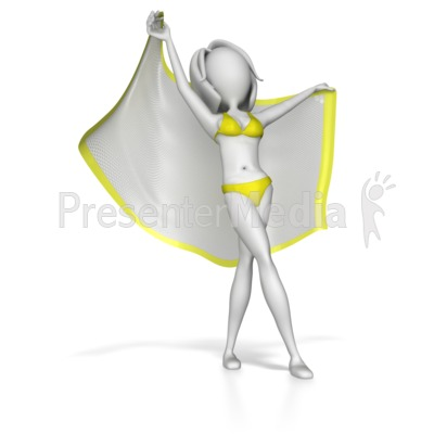 Beach Woman Stretching Out With Blanket Presentation clipart