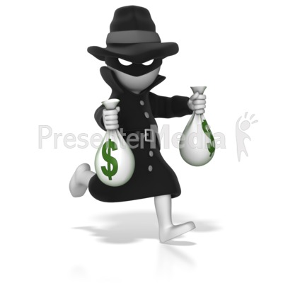Thief Running With Money Bags Presentation clipart