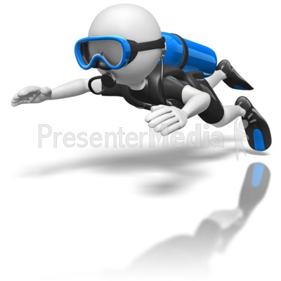 Stick Figure Scuba Diver Presentation clipart