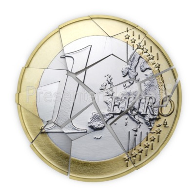 Euro Coin Shattered into Pieces Presentation clipart