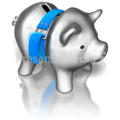 Piggy Bank Tightening Belt Presentation clipart