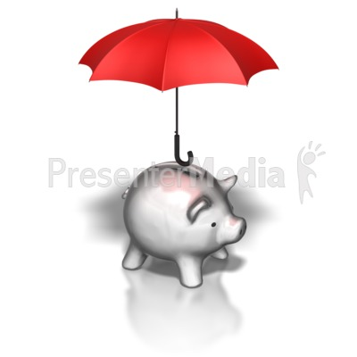 Piggy Bank Umbrella Presentation clipart