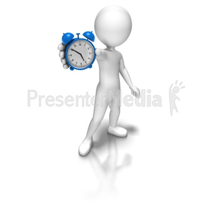 Stick Figure Holding Alarm Clock Presentation clipart