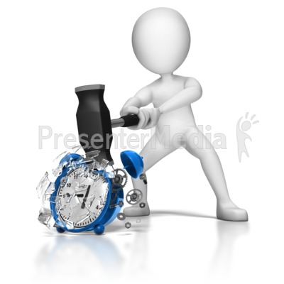 Stick Figure Smashing Alarm Clock Presentation clipart