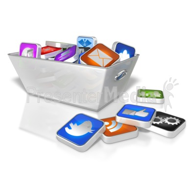 Bin Full Of App Icons Presentation clipart