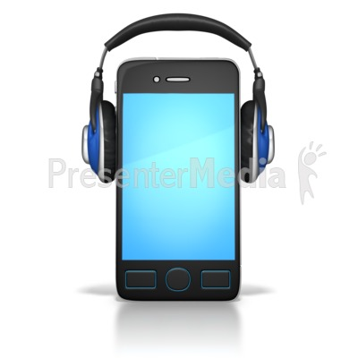 Smart Phone Wearing Headphones Presentation clipart