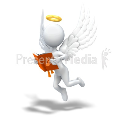 Angel Looking in Song Book Presentation clipart