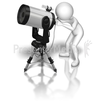 Stick Figure Telescope Presentation clipart