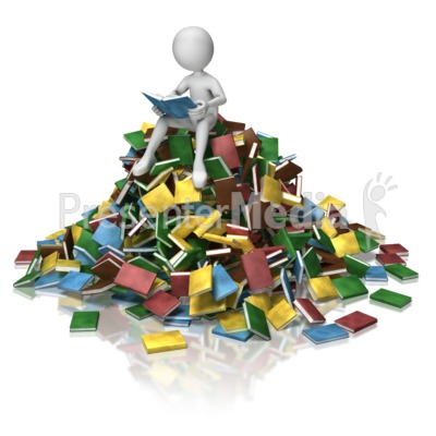 Stick Figure Book Pile Reading Presentation clipart