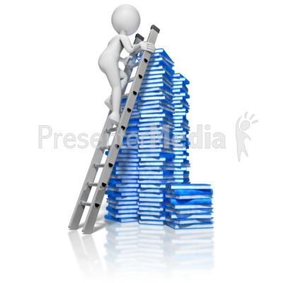 Stick Figure Climbing Books Ladder Presentation clipart