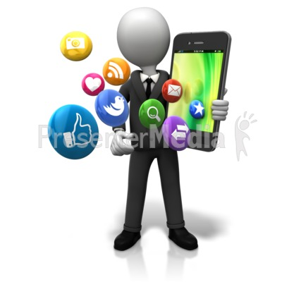Holding Big Smart Phone Icons Presentation clipart