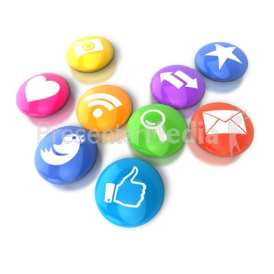 Circular Social Media Icons Presentation clipart