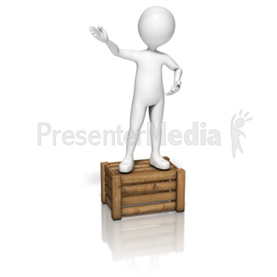 Stick Figure Talking On Crate Presentation clipart