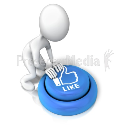 Figure Pushing Like Button Presentation clipart