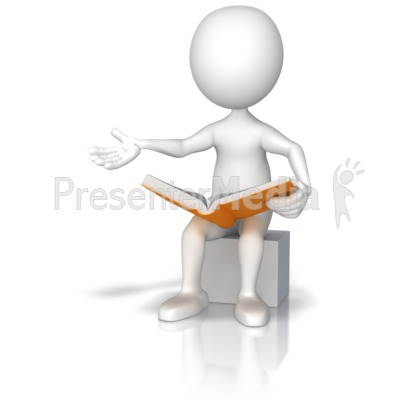 Figure Sitting Reading Out Loud Presentation clipart