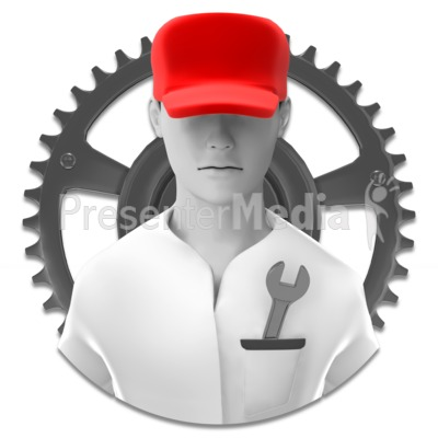Tech Support - Repair Guy Icon Presentation clipart