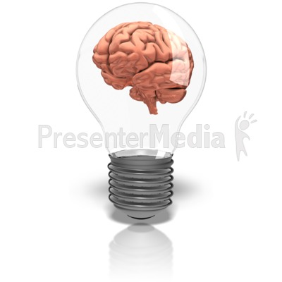 Brain In Lightbulb Presentation clipart