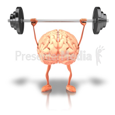 Exercising Weights Brain Presentation clipart