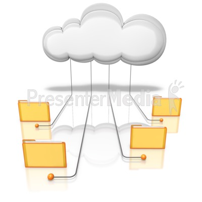 Folders Connected Into Cloud Presentation clipart