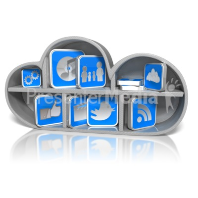 Cloud Shelf with App Icons Presentation clipart