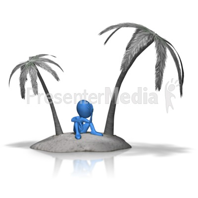 Stick Figure Stuck On Island Presentation clipart