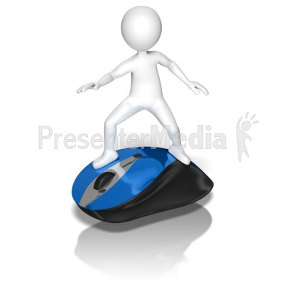 Stick Figure Riding Mouse Presentation clipart