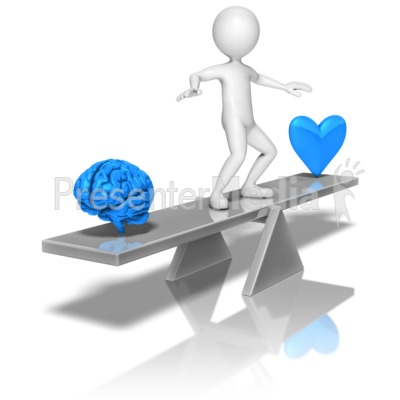 Stick Figure Balancing Mind Heart Presentation clipart