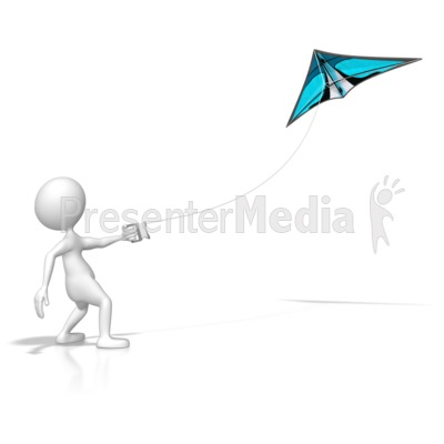 Stick Figure Flying A Kite Presentation clipart