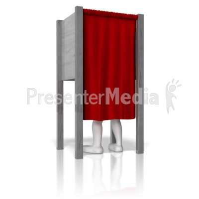Stick Figure In Voting Booth Presentation clipart