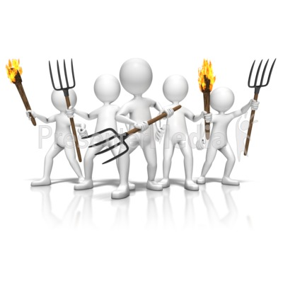 Group With Torches And Pitchforks Presentation clipart