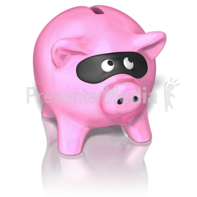 Piggy Bank Wearing Mask Presentation clipart