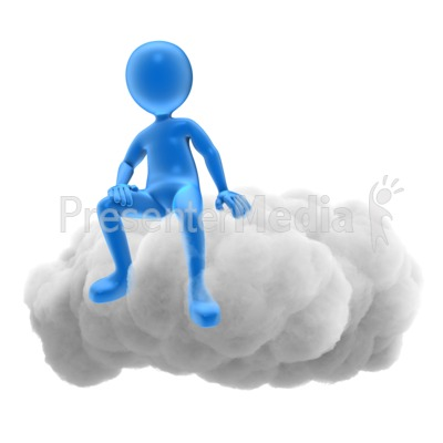 Stick Figure On Cloud Presentation clipart