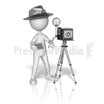 Stick Figure Press Journalist Presentation clipart