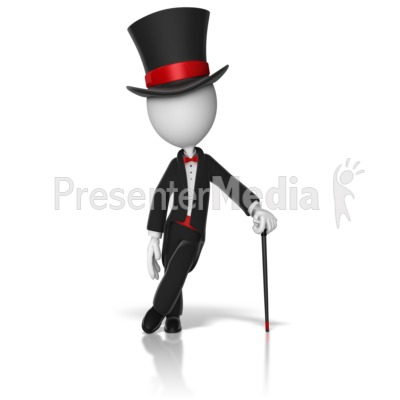 Classy Stick Figure Top Hat And Cane Presentation clipart