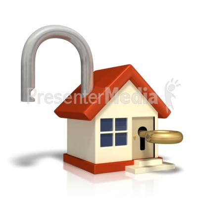 Unlocked House With Key Presentation clipart