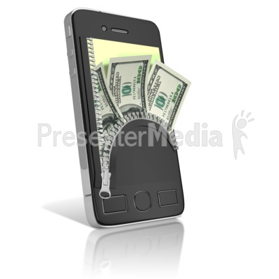 Phone Cash Zipper Wallet Presentation clipart