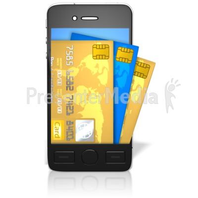 Credit Cards Coming Out Of Screen Presentation clipart