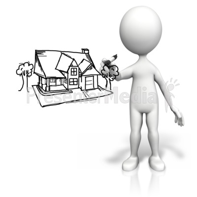 Stick Figure Drawing House Presentation clipart