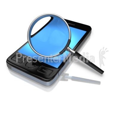 Magnify Glass Searching Phone Presentation clipart