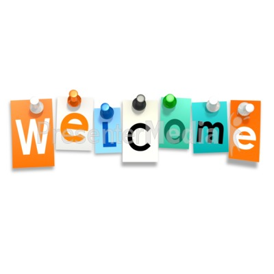 Welcome Thumb Tacks Presentation clipart