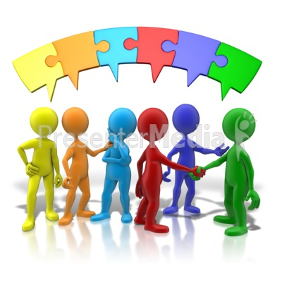 Colored Puzzle Connection Presentation clipart