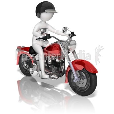 Stick Figure On Motorcycle Presentation clipart