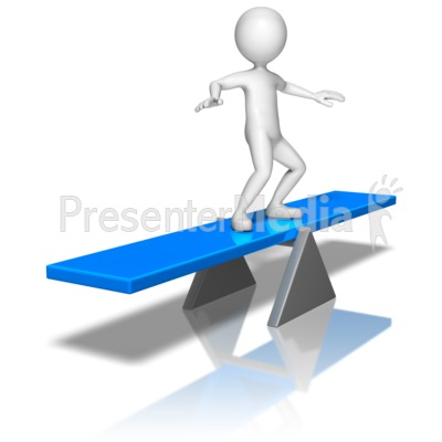 Stick Figure On Balance Board Presentation clipart
