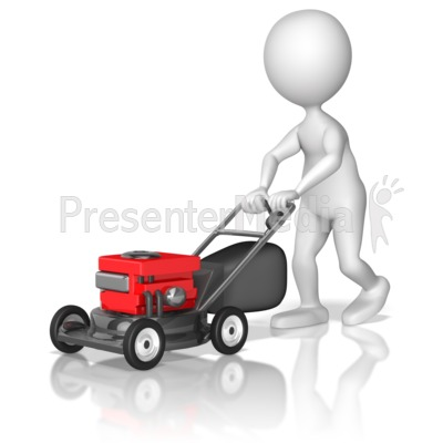 Figure Pushing Lawnmower Presentation clipart