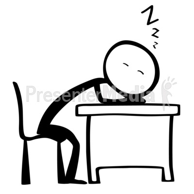 Line Figure Sleep Desk Presentation clipart
