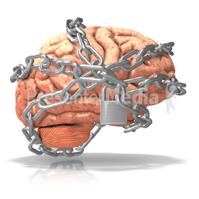 Brain Locked Up in Chains Presentation clipart
