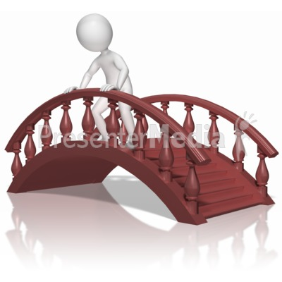 Stick Figure On Bridge Presentation clipart